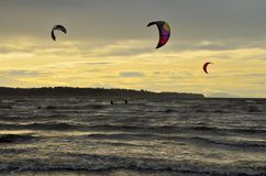 An afternoon of kite surfing stock photography