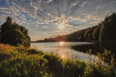Afternoon at lake stock photography