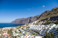 Afternoon landscape of Los Gigantes resort city Royalty Free Stock Photo