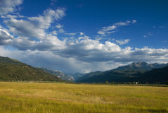 Afternoon Light. Glowing fields in the ranch valley near Ridgway, Colorado late on a summer afternoon with Mt. Abrams and the San Juan Mountains in the Royalty Free Stock Image