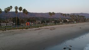 Afternoon light East beach Santa Barbara. Aerial Video of the East beach and arco rainbow Chromatic Gate Santa Barbara and the surrounding area. Santa Barbara stock footage