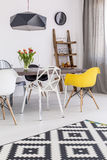 Afternoon light in a pure interior of a dining room Stock Photo
