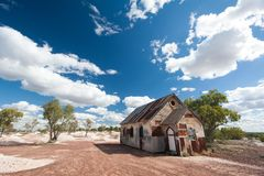 Afternoon light at the rusty old church in Lightning Ridge Australia stock photo