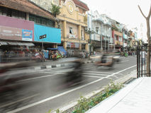 An Afternoon in Malioboro. A hectic road in Malioboro Royalty Free Stock Image