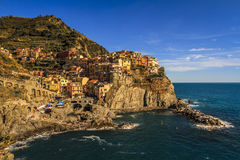 Afternoon at Manarolo, Italy. Manarolo is one of the towns of the Cinque Terre on the Ligurean Sea and Mediterranean Royalty Free Stock Photos