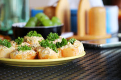 Afternoon relax with tasty savory on the table Royalty Free Stock Images