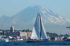 Afternoon sail on board S/V Obsession. A popular Seattle attraction is taking an afternoon or sunset sail on board S/V Obsession stock image