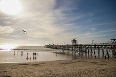 Afternoon at San Clemente Pier, California stock image