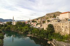 Afternoon scene in Mostar with the medieval town, the Neretva river in Bosnia Herzegovina Royalty Free Stock Photo