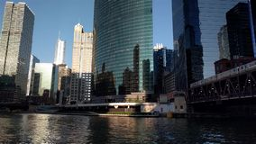 The Chicago River at Lake Street. Chicago, USA. Afternoon scene near the Chicago River at Lake Street. Chicago, USA. Public transit, pedestrians and subtle stock video footage