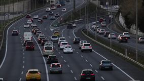 Afternoon scene (time lapse) traffic of entry of Barcelona. stock video footage
