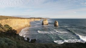 Afternoon shot of the twelve apostles looking east on the great ocean road. Afternoon shot of the twelve apostles looking east at port campbell on the great stock footage