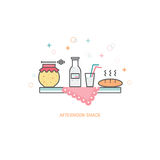Afternoon snack concept. Vector afternoon snack concept made in trendy linear style, including honey, bread and milk isolated on white background Stock Photos