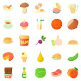 Afternoon snack icons set, cartoon style. Afternoon snack icons set. Cartoon set of 25 afternoon snack vector icons for web isolated on white background Royalty Free Stock Image