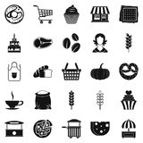 Afternoon snack icons set, simple style. Afternoon snack icons set. Simple set of 25 afternoon snack icons for web isolated on white background Stock Photos