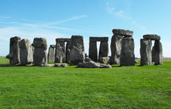 Afternoon at Stonehenge, Ancient rocks of England. This pic was taken during my visit at Stonehenge, England. Blue sky, green grass royalty free stock images