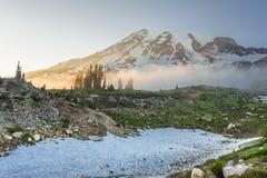 Afternoon Sun Glows Over Fog Below Mount Rainier Royalty Free Stock Photos