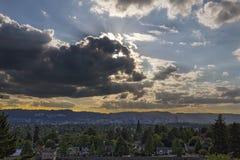 Afternoon Sun Rays over Portland Oregon Skyline Royalty Free Stock Photography