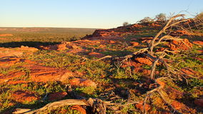 Afternoon sun on rocky ridge. Late afternoon sun over Australian outback rocky ridge creates long shadows and amazing colours Stock Images