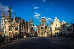 The afternoon sun setting on the St. Nicholas' Church in ghent, royalty free stock image