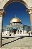 The afternoon sun shines on the golden Dome of the Rock and chur Stock Photos