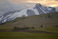 Afternoon and Sunset at Coyhaique, Chilean Patagonia Stock Photos