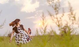 The afternoon, take violin woman Royalty Free Stock Image