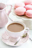 Afternoon tea. Served with Parisian macarons Stock Images