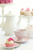 Afternoon tea. Served with gourmet cupcakes Royalty Free Stock Photography