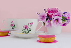 Afternoon tea. Served with a cake Stock Images
