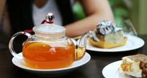 Afternoon Tea. Snow lake taken from park stock photography