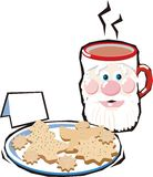 Afternoon tea. Christmas Cup and Christmas cookies on a white background Royalty Free Stock Image
