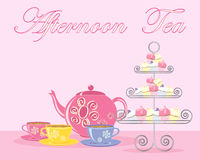 Afternoon tea advert. An illustration of a traditional english afternoon tea in advert format with teapot cups and fancy cake stand on a pink background stock illustration