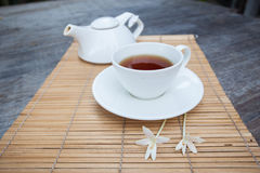 Afternoon tea on bamboo tray Stock Images