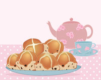 Afternoon tea break. An illustration of a plate of tea buns with tea pot and cup and saucer on a pink spotty tablecloth with space for text Stock Photo