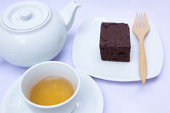 Afternoon tea with brownie. Stock Photos