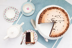 Afternoon tea and cake. Overhead view stock photography