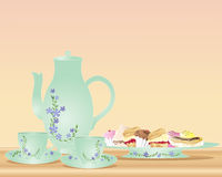 Afternoon tea and cakes. An illustration of a tea pot two cups and saucers with floral decoration and a plate of delicious cakes stock illustration