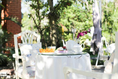 Afternoon tea. And cakes and fruit orange in the garden stock photo