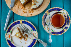 Afternoon tea with carrot cake in retro style Royalty Free Stock Images