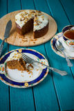 Afternoon tea with carrot cake in retro style Royalty Free Stock Image