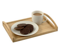 Afternoon Tea and Chocolate Biscuits. A tray with mug of tea and plate of biscuits royalty free stock photos