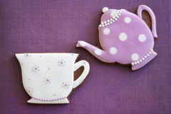 Afternoon tea cookies. Teapot and tea cup cookies Royalty Free Stock Photography