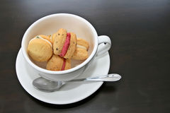 Afternoon tea and cookies. Afternoon tea concept with cream filled cookies in a teacup Stock Photo
