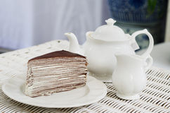 Afternoon tea with crape cake Stock Photography