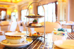 Afternoon tea. Afternoon England tea time in restaurant Royalty Free Stock Photos