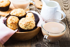 Afternoon tea with homemade muffins Stock Photo