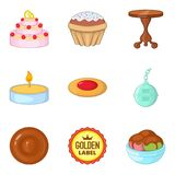 Afternoon tea icons set, cartoon style. Afternoon tea icons set. Cartoon set of 9 afternoon tea vector icons for web isolated on white background Stock Photography