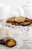 Afternoon Tea Party. Afternoon tea with plate and comport of florentine biscuits Royalty Free Stock Photos