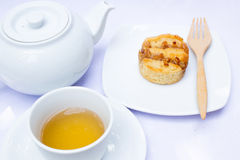 Afternoon tea with scone. Stock Image